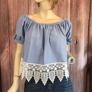 Iris Crop Top Off Shoulder Lace Detail XL